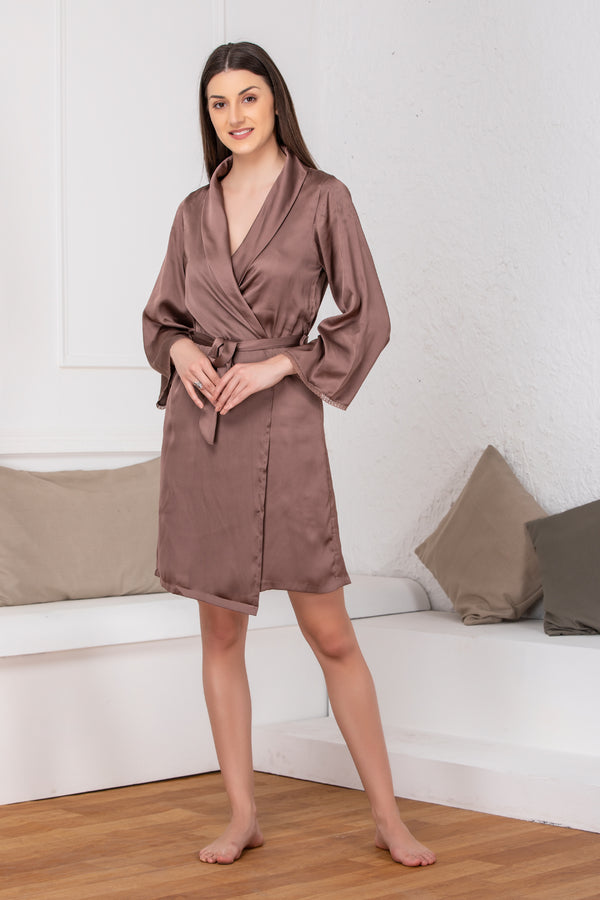 Brown satin Babydoll & Robe