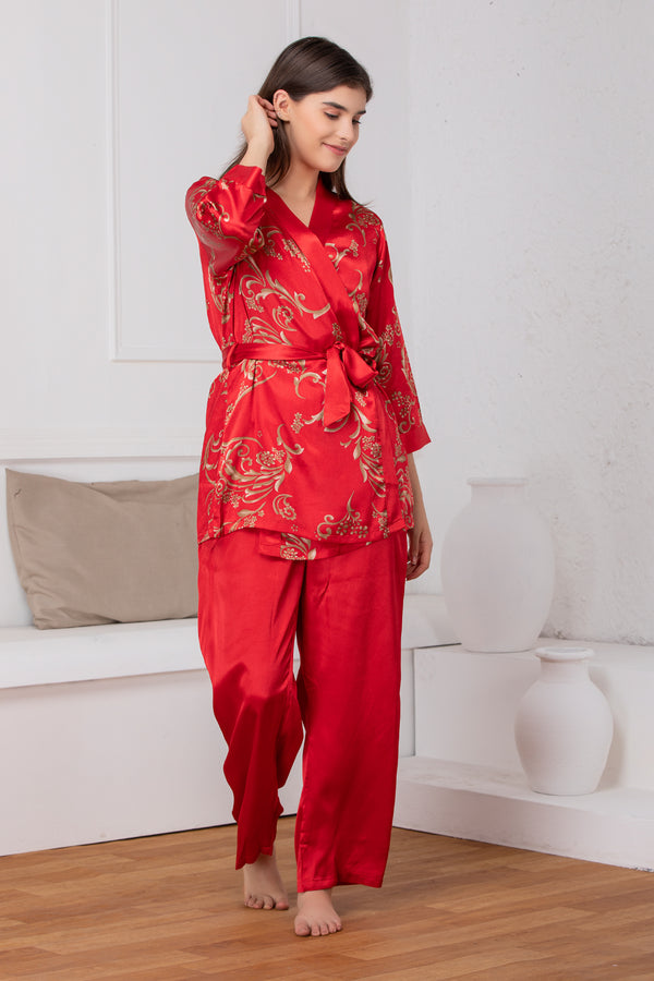 Bridal red satin Night suit with print robe