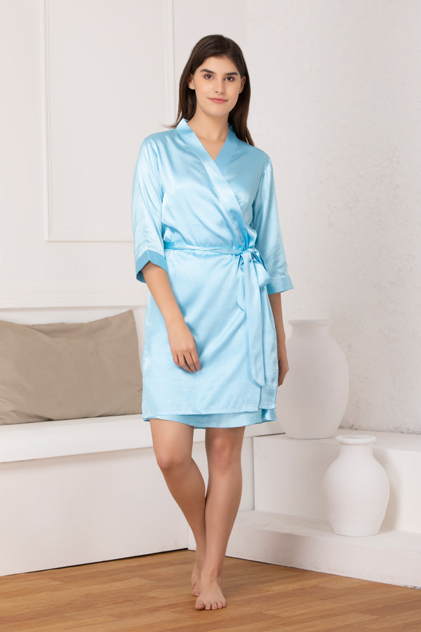 Blue satin Babydoll & Robe nightgown set