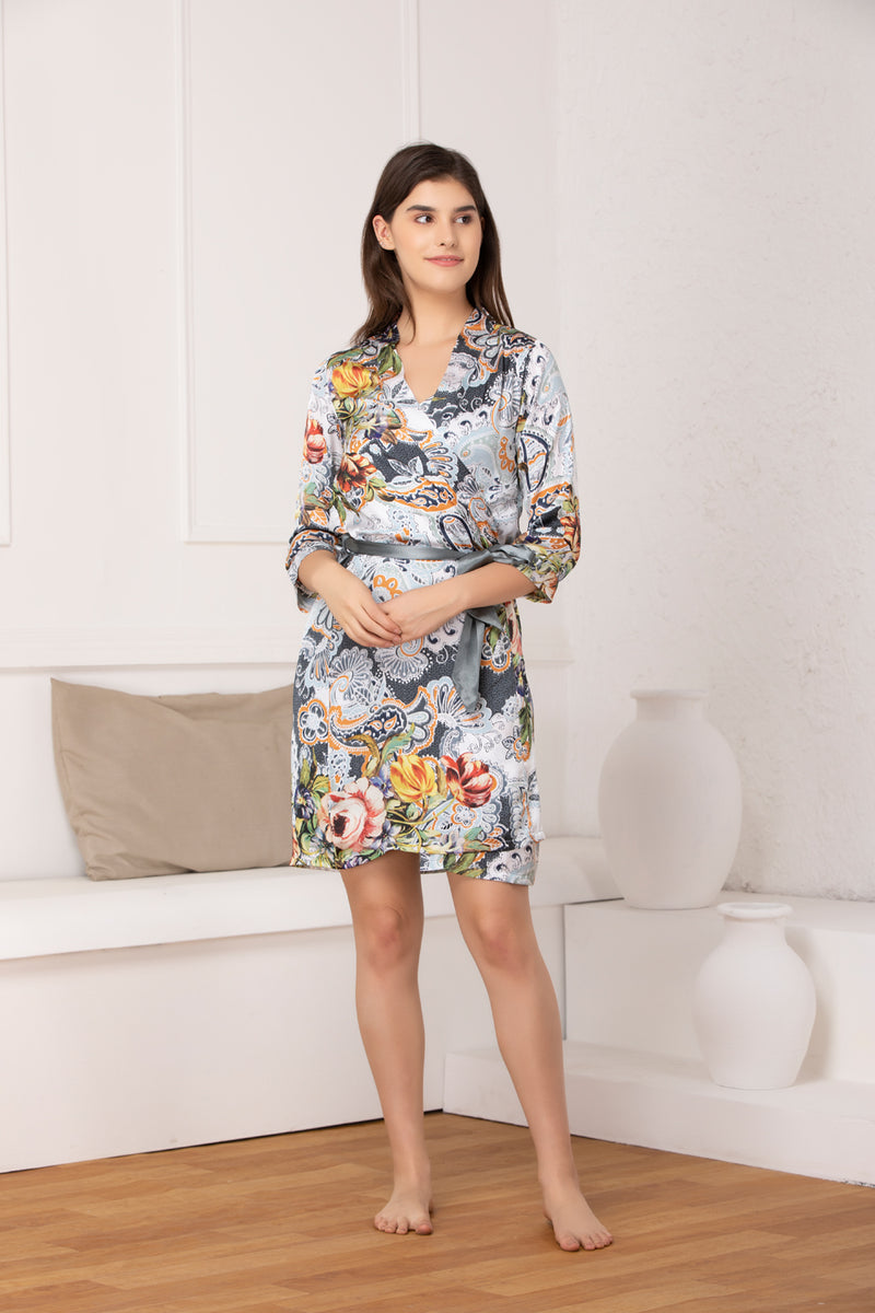 Printed satin Nightgown set