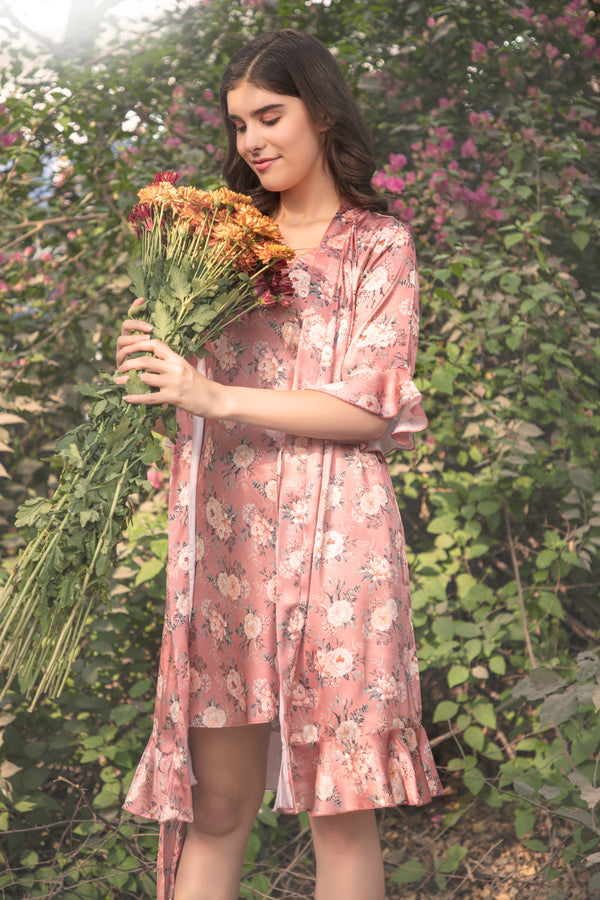 Floral print short Nightgown set