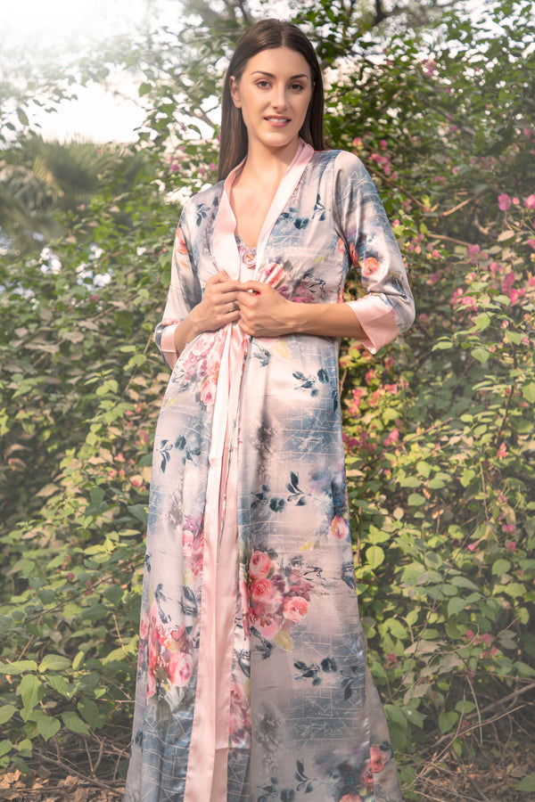 Floral Long Nightgown set