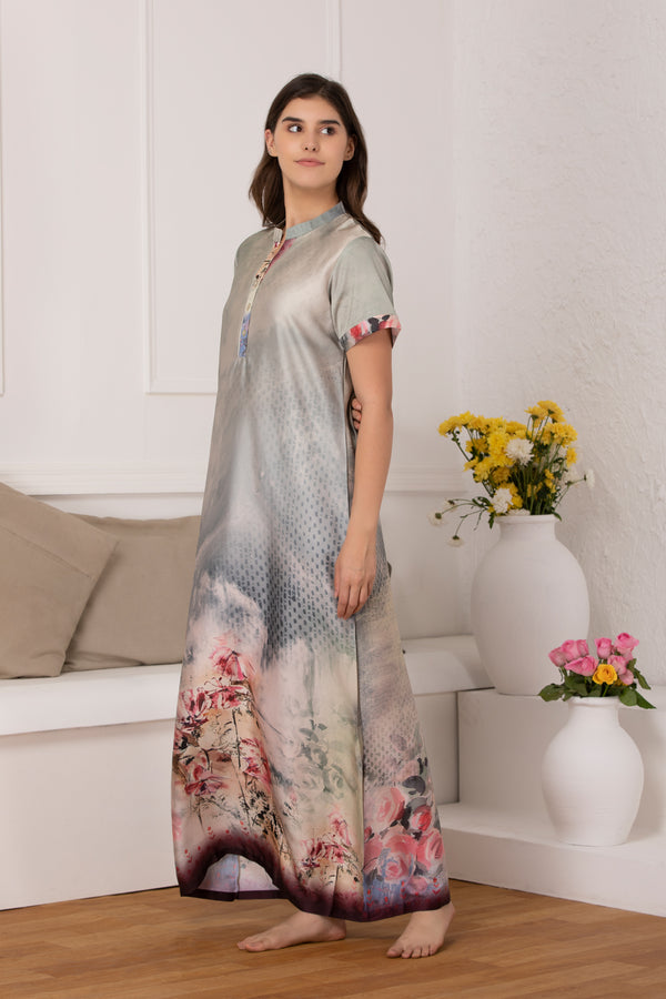 Digital print satin Nighty