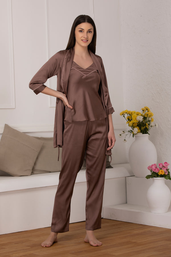 Brown satin Night suit with robe