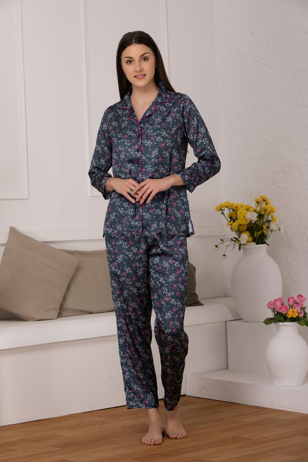 Floral Satin Classic collar Night suit