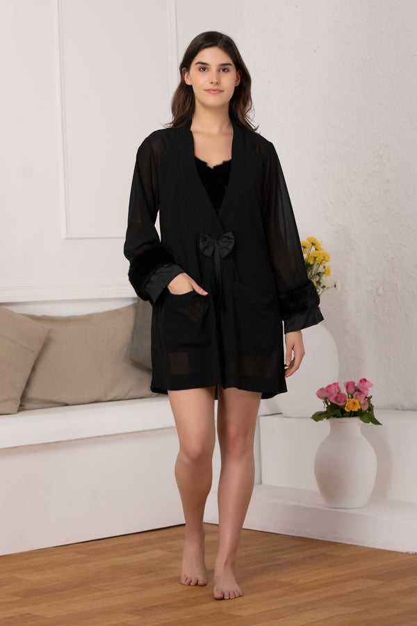 Black designer Babydoll & Robe nightgown set