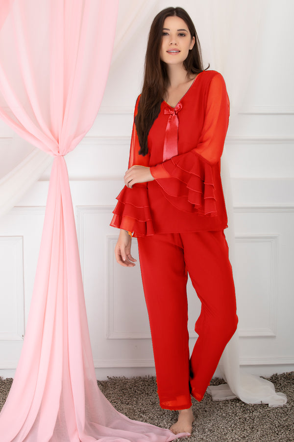Red After-hours Chiffon Night Suit