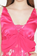 Private Lives Fuchsia Satin Strap Nighty - Private Lives