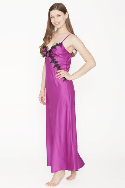 Private Lives Purple Satin Strap Nighty - Private Lives