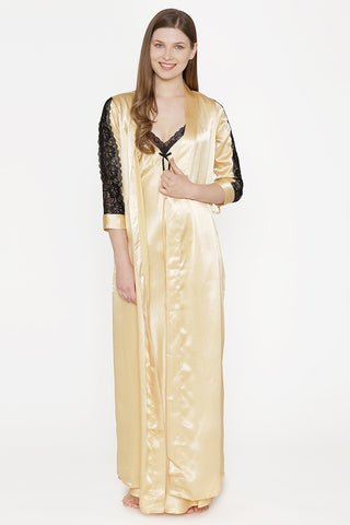 Private Lives Gold Satin Long Nighty Gown - Private Lives