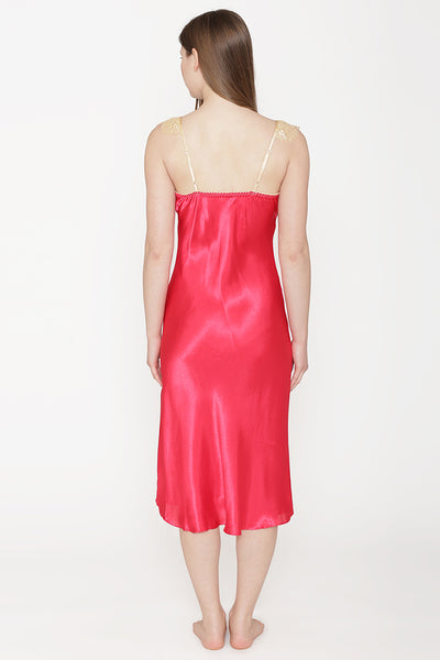 Private Lives Red Satin Long Nighty Gown - Private Lives