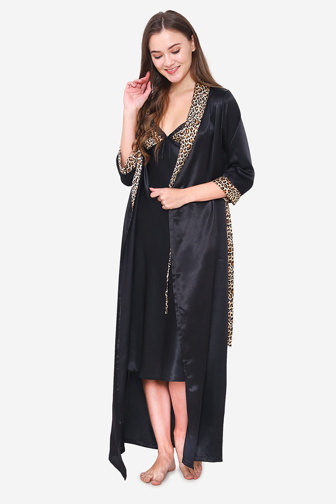 Black Satin Long Nighty & Robe - Private Lives