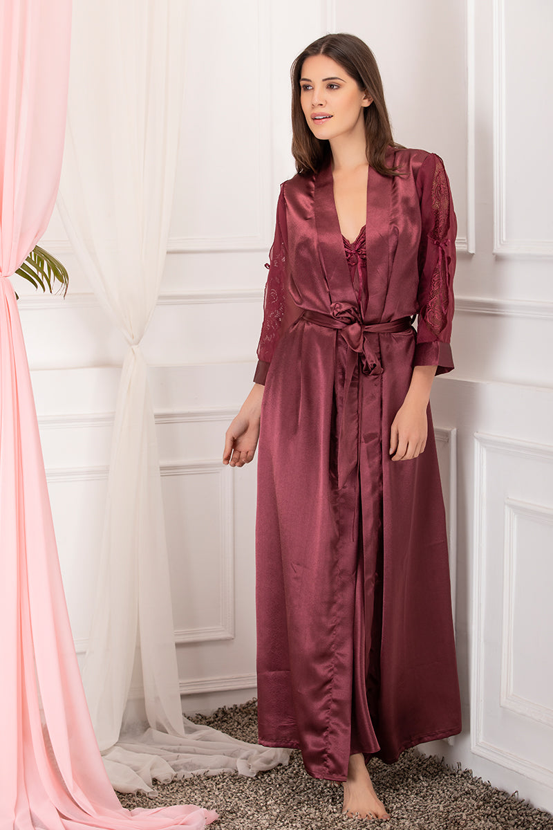 Private Lives Maroon Satin 2Pcs Set - Private Lives