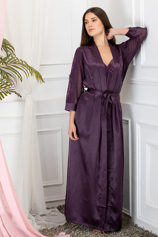 Private Lives Purple Satin 2Pcs Set - Private Lives