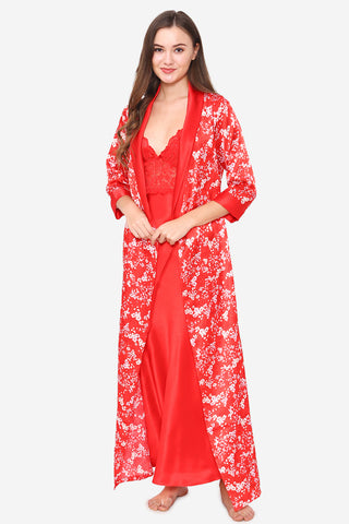 Red Satin Long Nighty & Robe - Private Lives