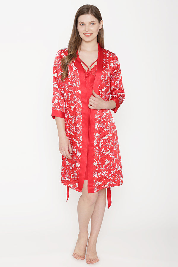 Private Lives Red Satin Short Nighty Gown - Private Lives