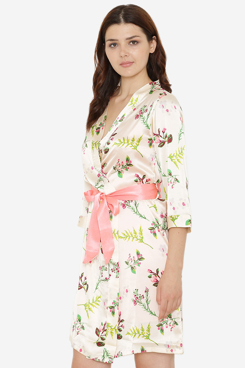 Private Lives Cream Satin Short Nighty & Robe Set - Private Lives