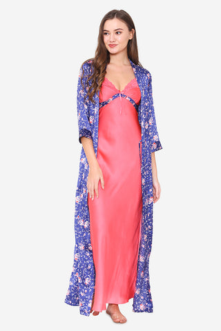Pink Satin Long Nighty & Robe - Private Lives
