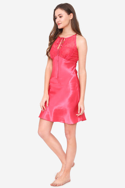 Pink Satin Short Nighty & Robe - Private Lives