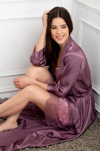 Private Lives Mauve Satin 2Pcs Set - Private Lives