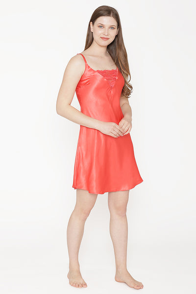 Private Lives Peach Satin Short Nighty Gown - Private Lives