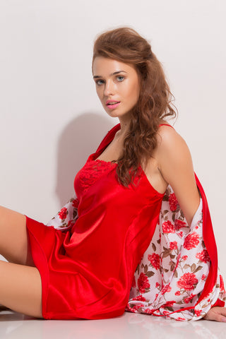 Red Satin Short Nighty & Robe