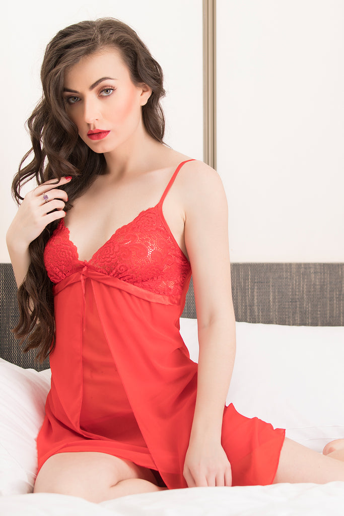 Baby doll in Red Satin