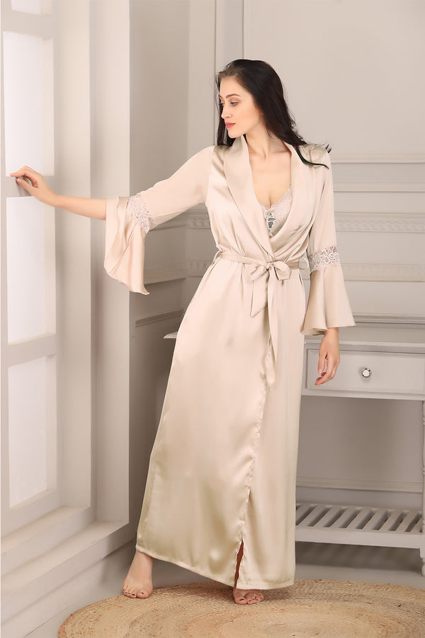 Beige Satin Nightgown set