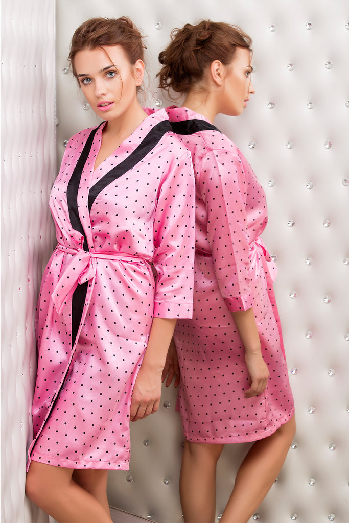 Print Satin short length robe