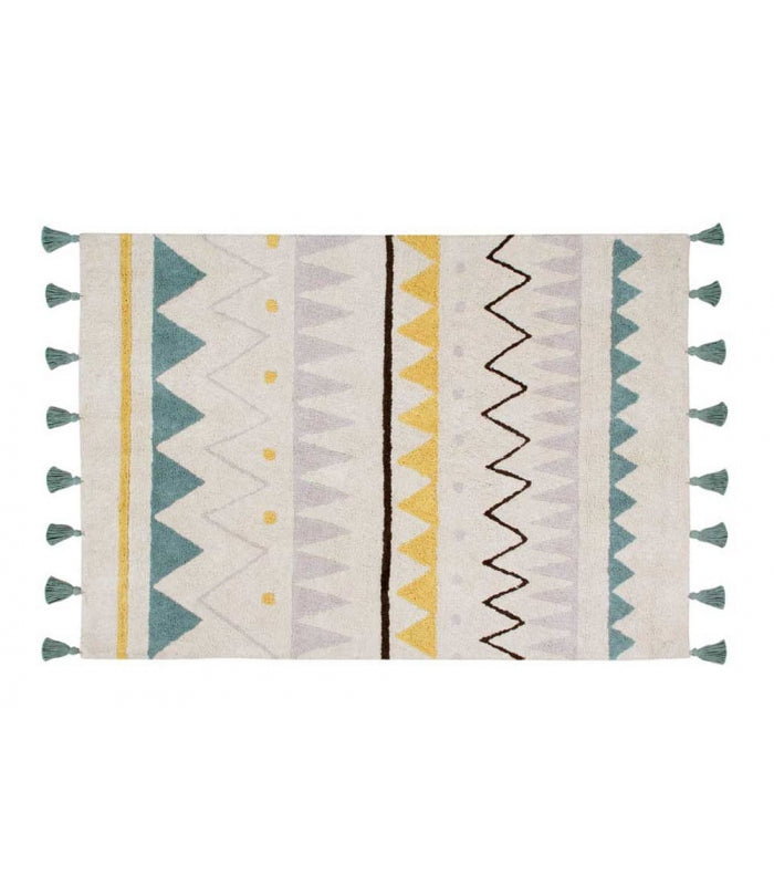 Lorena Canals Azteca Natural - Vintage Blue Washable Rug