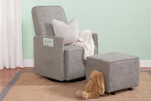 Sierra Swivel Glider with Gliding Ottoman and Side Pocket (Heather Grey)
