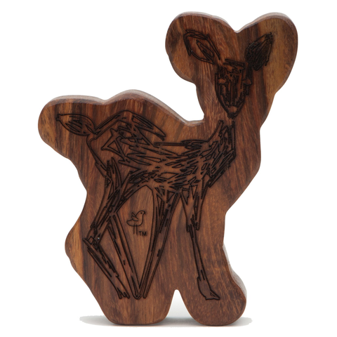 Wood Teething Rattle - Fawn