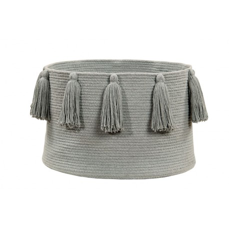 Lorena Canals Tassels Light Gray Basket
