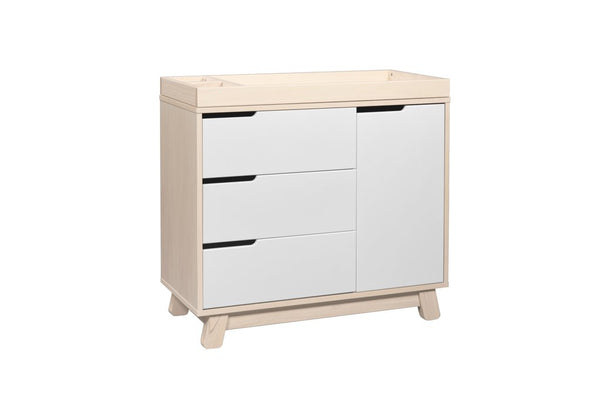 "Hudson 3 Drawer Dresser with Removable Changing Tray (Washed Natural/White) and Pure 31"" Contour Changing Pad"