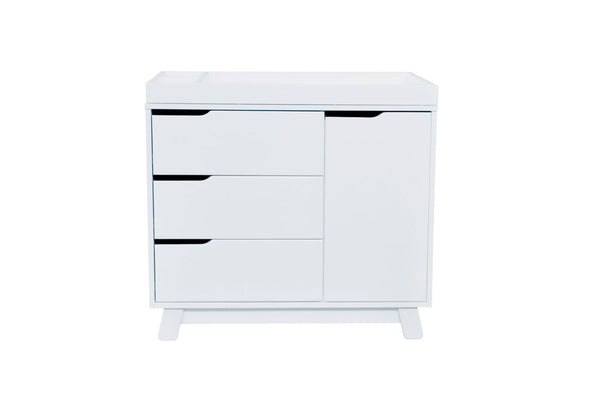 "Hudson 3 Drawer Dresser with Removable Changing Tray (White) and Pure 31"" Contour Changing Pad"