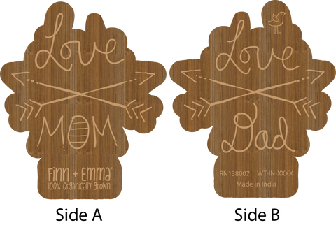 Wood Teeting Rattle - Love Mom & Dad