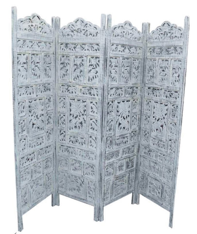Screen Divider Elephant White Finish 4 Panels