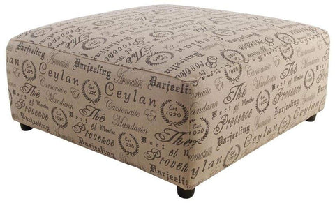 Alenya Oversize Ottoman Black Tea House Fabric - LOUNGE