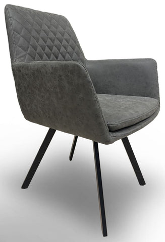 Bermuda Upholstered Dining Chair In Anique Grey