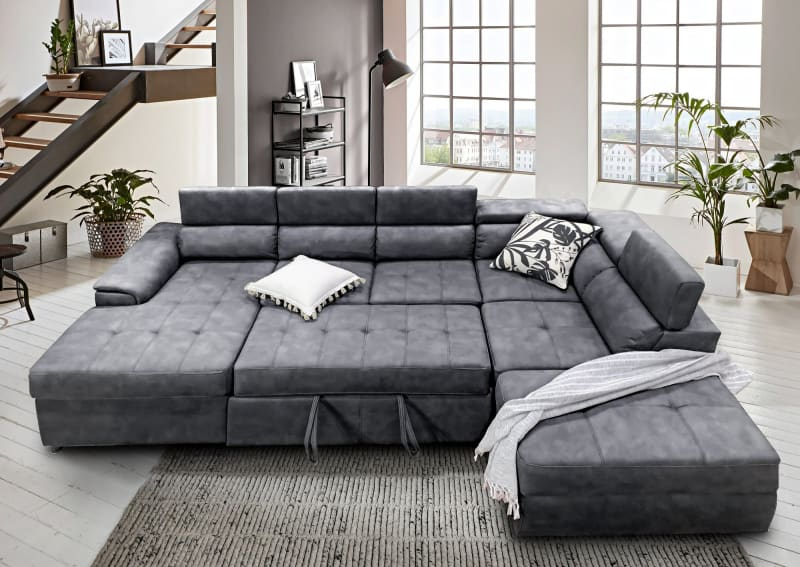 Picture of: Our Furniture Warehouse Bronte Left Chaise With Sofabed In Grey