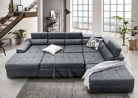 Bronte left chaise with sofabed in grey