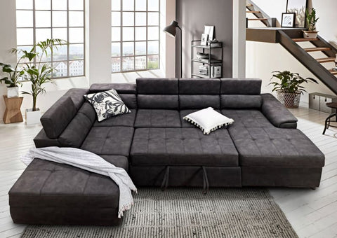 Bronte Right Chaise with sofabed in charcoal