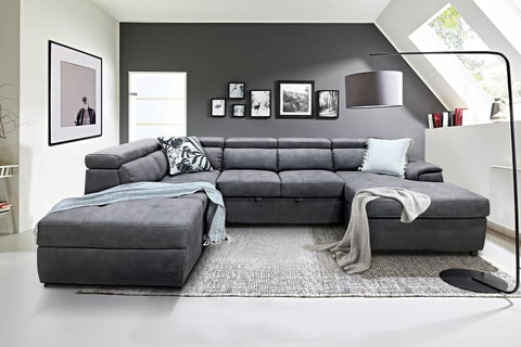 Bronte Right Chaise with sofabed in grey