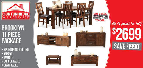 Brooklyn 11 Piece Living Package - DINING