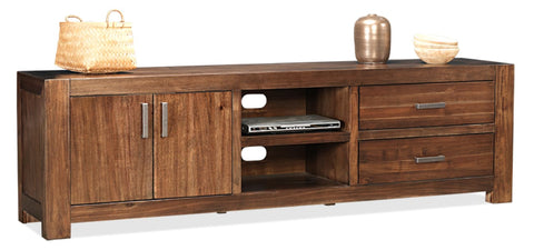 Brooklyn 2150 wide tv unit with 2 doors and 2 draws in coffee finish - OCCASIONAL