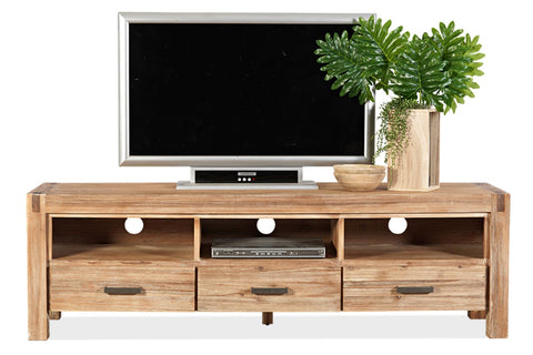 Cable Beach 1800 wide TV unit in brushed acacia finish - OCCASIONAL
