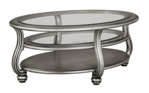 Coralayne Coffee Table Glass Top With Metalic Finish - OCCASIONAL