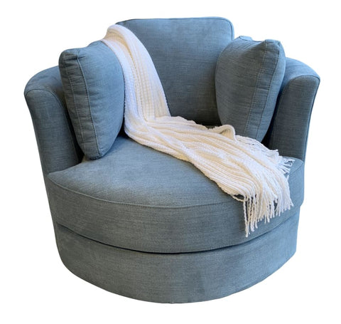 Cozy Cuddle Swivel Chair In Rustic Blue - LOUNGE