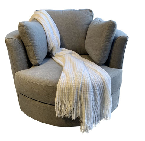 Cozy Cuddle Swivel Chair In Smoke Grey - LOUNGE
