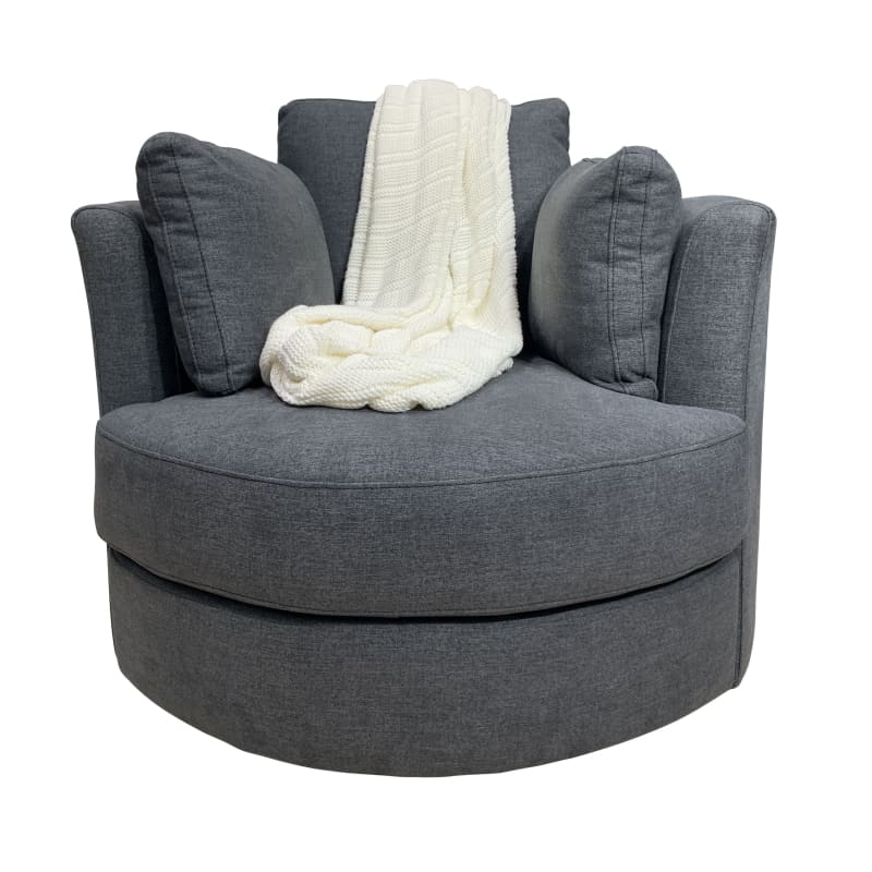 Our Furniture Warehouse Cozy Cuddle Swivel Chair In Storm Grey